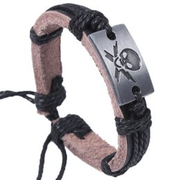Wholesale Pirated Movies - 24pcs Hot selling The Pirate Genuine Leather Adjustable Wristbands Charm Alloy Bracelet Jesus Stainless steel Bangles Jewelry Free shipping