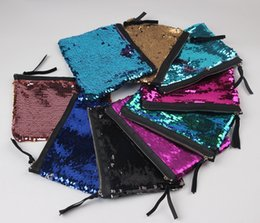 Wholesale Nylon Makeup Purse - Hot Sale Sequin Clutch Bag Mermaid Sequin Purse Mermaid Makeup Bags Cosmetic Bag Glitter Sequins Coin Bags Fashion Pouch
