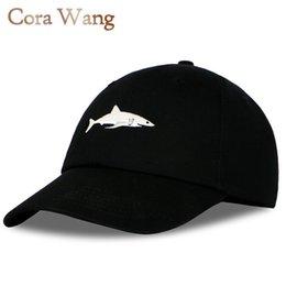Wholesale Wholesale Shark Baseball Caps - Wholesale- 2017 Top Fashion Washed Baseball Cap Men Pink Shark Embroidery Dad Hat for Women gorras planas snapback dad bosco