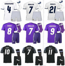 Wholesale top soccer jersey madrid - 2016 REAL 2017 REALS MADRID ADULT SHORT KIT+SOCKS ronaldo TOP QUALITY JERSEY 16 17 HOME WHITE AWAY PURPLE 3RD BLACK SHIRT
