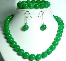 """Wholesale Gemstones Beads China - Free Shipping >>>>10mm Green Jade Gemstone Round Beads Necklace 18"""" & Bracelet 7.5"""" & Earrings A+A"""