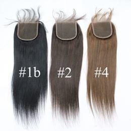 Wholesale Soft Virgin Hair - 7A Color #1b #2 #4 Brazilian Straight Hair Top Lace Closures 3 part 1B 4X4 Peruvian Virgin Lace Closures Hair Piece Soft Cheap Human Hair