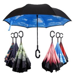 Wholesale Double Fabric Umbrellas - C J Handle Umbrella Windproof Reverse Folding Double Layer Inverted Umbrella Self Stand Inside Out Rain Protection C Hook Hands For Car