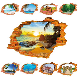 Wholesale Natures Scenery - 8001 3D Holes Sticker Wall Sticker Fishes Boat Horse Sun and Beach Scenery Wall Decals Home Decoration for Wall Tree Building Stickers