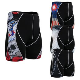 Wholesale Tights For Male - Wholesale- Base Layers Male Compression Tights for Men Short Trousers Pants Breathable 3D Prints Fitness Crossfit Pants