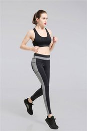 Wholesale Printed Yoga Pants - New Fashion Women yoga Running Pants S-XL 4 Size of printed Elastic Waist Black Ninth Yoga Pants