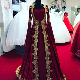 Wholesale Sexy Middle East Black Applique - Gorgeous Dark Red Evening Dress with long sleeves gold Lace Appliques middle east design Prom Dress vestido de festa Formal Gown