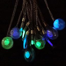 All'ingrosso-FUNIQUE semi di tarassaco palla di vetro collana sferica per le donne bagliore nel buio collane pendenti fiore essiccato luminoso da