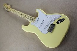 Wholesale Yngwie Yellow - Wholesale-free shipping Scalloped Fingerboard Dimarzio Pickups Vintage yellow cream Yngwie Malmsteen Guitar Big Head ST Electric Guitar 85