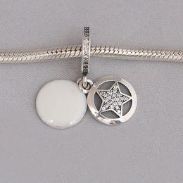 Wholesale Jewelry Friendship Bracelets Sterling Silver - Real 925 Sterling Silver Friendship Star Dangle Charm, Silver Enamel & Clear CZ Fit Bracelet Diy Jewelry Making