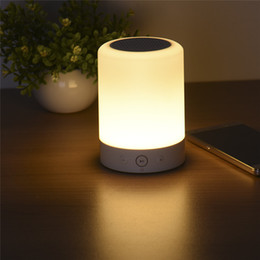 Wholesale Music Box Card - Wholesale- LED Touch Lamp Night Light Functional Bluetooth Speaker With TF Card Slot Music Sound Box Touch LED Hands-free Table Lamp