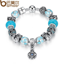 Wholesale Resin Christmas Bear - Authentic Silver Silver Color BAMOER Top Quality Bear Flower Heart Blue Murano Beads Bracelet for Christmas Eve Gift PA1461