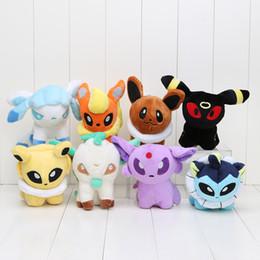 "Wholesale Glaceon Leafeon Stuffed Animals - Pikachu Umbreon 8 pcs 6"" Eevee Espeon Jolteon Vaporeon Flareon Glaceon Leafeon Plush Toys Soft Stuffed animals"