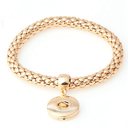 Wholesale Trend For Chain Jewelry - 18K Gold Corn Chain Snap Button Bracelet&Bangles Trend Interchangeable Charm Bracelet For Women Fit 18mm Snap Button Jewelry