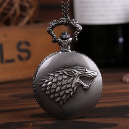 Wholesale Steampunk Watches Men - Wholesale-Gothic Movie Game of Thrones Pocket Watch Necklace Steampunk Men Body Chain House of Stark Black Wolf Pendant Game Jewelry