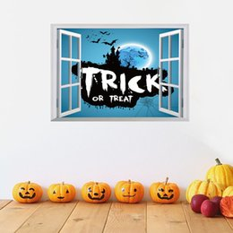 Wholesale Stickers Three - Hot Halloween supplies bat castle three-dimensional The window wall stickers Festive Event Party Decoration