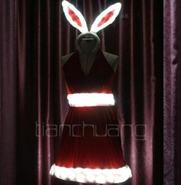 Wholesale Bunny Rabbit Dance Costume - Christmas clothing small angel DS lead dance performance costumes rabbit loaded evening gown Princess loaded bunny stage equipment
