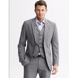 Wholesale Western Tuxedos - Western 3 Pieces 2018 Two buttons Notch Lapel Groom Tuxedos Groomsmen Men's Wedding Suits (Jacket+Pants+Vest)