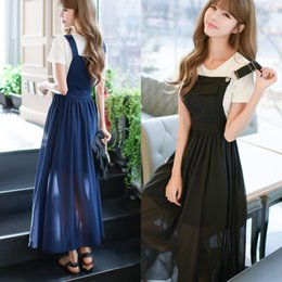 Wholesale Korean Ladies Long Skirts - Women Lady Girls Korean Casual Fashion Summer Blue Straps Summer Chiffon Long Dress Skirts Clothes 3318