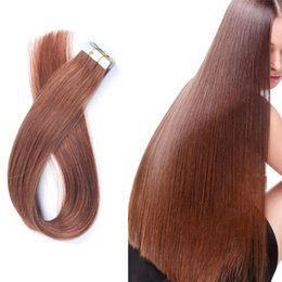 Wholesale Remy Human - Tape In Hair Extensions 100% Brazilian Remy Unprocessed Human Hair Silky Straight 16-26 Inch Multi Colors 20 Pieces 40g Free Shipping