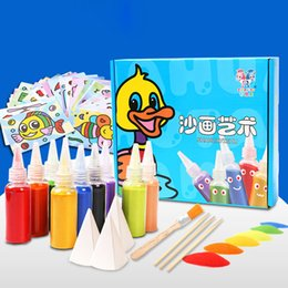 Wholesale Diy Art Toys - Children Kids Art Sand Painting Ten Colors Set DIY Drawing Coloring Puzzle Science Education Toys 28 Sheets Cartoon Picture