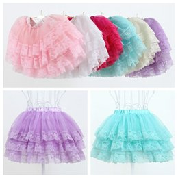 Wholesale Mini Skirts Satin Girls - 2017 summer lace tutu skirt girls soft tulle skirt toddler princess ruffle skirts wholesale fluffy baby tutus newborn gown boutique clothing