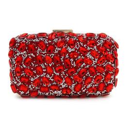 Wholesale Elegant Wedding Purse - Luxury One Side Crystal Evening Clutch Bag Elegant Women Handbag Lady Wedding Purse Party Rhinestones Wallet