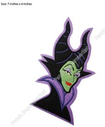 """Wholesale Girls Badges - 7"""" LARGE MALEFICENT Witch Sleeping Beauty Film TV MOVIE Cute Lovely Cartoon Girl Dress Classic Lovely Embroideried Patch Badge"""
