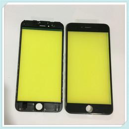 2019 assemblage lunette iphone Lentille extérieure en verre à écran tactile LCD avant avec cadre de montage central, remplacement de la lunette pour iPhone 6 6S 6 Plus 6s Plus, noir, blanc assemblage lunette iphone pas cher