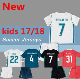 Wholesale Kid White Shirt - 2017 2018 kids Real madrid soccer Jerseys New Font 17 18 RONALDO white Black JAMES BALE RAMOS ISCO MODRIC football shirt Thailand Quality