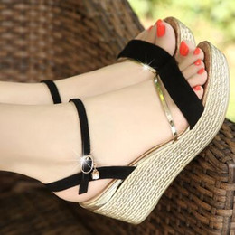 Wholesale Thick Heel Wedges - Bohemia summer new fish mouth sandals slope with female shoes Korean version of thick sandals shoes high heels