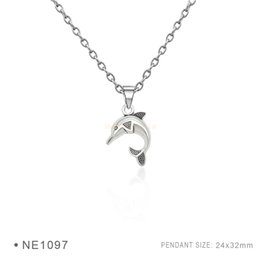 Wholesale Antique Dolphins - Antique Silver Plated Double Dolphin Charm pendants Chain Necklaces For Women Men PBirthday Best Gifts latinum Metal Necklaces