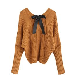 Wholesale Knit Cable Sweater - 2016112123 Womens Fall Fashion Knitwear Sweaters For Woman 2016 Khaki Pullover Jumpers V Neck Batwing Bow Tie Cable Knitted Sweater
