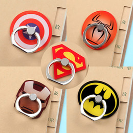 Wholesale Finger Color - Universal 360 Degree Super Hero Superman Batman Finger Ring Holder Phone Stand For iPhone 7 6s Samsung Mobile Phones With Retail Box