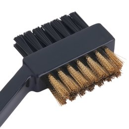 Wholesale Groove Cleaner - Wholesale- new 2 Sided Dual Bristles Brass Wires Golf Club Brush Groove Cleaner Kit Tool Black Useful Free Shipping
