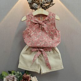 Wholesale Infant Bow Top - Fashion Summer 2017 Children Clothes Kids Clothing baby Girl Suit Outfits Flower printing bow Vest Tops short pants set Infant Wear A259