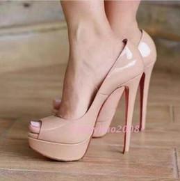 Wholesale Black High Platforms Sandals - Classic Brand Red Bottom High Heels Platform Shoe Pumps Nude Black Patent Leather Peep-toe Women Dress Wedding Sandals Shoes size 35-42