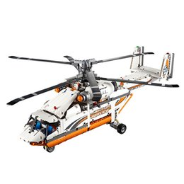 Wholesale Wooden Model Helicopter - NEW LEPIN 20002 Technic Series 1060pcs Double Rotor Transport Helicopter Model Building Blocks Bricks Compatible 42052 Boy toys