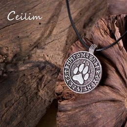 Wholesale Men Bear Necklace - Hot European Popular Norse Viking Jewelry Bear Paw Necklace Men Retro Symbol Metal Charms Pendants statement Necklaces For Party Daily Gifts
