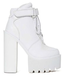 Wholesale Chunky Heel Platform Booties - Jefrey Campbell Pole Vault Platform Boots White Genuine Leather High Heeled Chunky Heel Lace Up Women's Ankle Booties Shoes