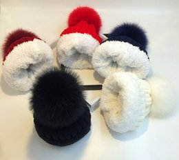 Wholesale Pink Fox Fashion - Women ladies acrylic thick knitted winter hat with warm plush lining and large genuine fox fur pom in 7 colours UPS TNT free shipping(LL003)