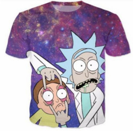 Nueva Moda Womans / Hombres Psicodélico Galaxy Rick y Morty manga corta Funny 3D Print T-shirt Summer Casual Clothes Top Tees Plus S-5XLKK8 desde fabricantes