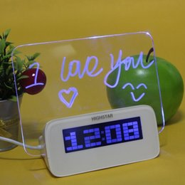 Wholesale Message Board Alarm Clock Calendar - Wholesale- Original Highstar LED Luminous Message Board Digital Alarm Clock,Memo Calendar Thermometer Backlight with 4 Ports USB Hub Clock