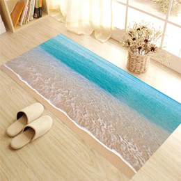 Wholesale Sea Poster Landscape - 2017 Hot Creative 3D Wall Stickers sea sandbeach twill skid-proof Bathroom Floor Sticker Kids room wall decals Poster
