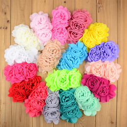 Wholesale Decorations For Headbands - 2017 NEW 14cm*8.0cm Chiffon Flower Three Rosette Flower Lined for girl Headband Summer Dress Decoration 22 Colors