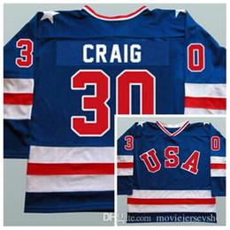 Дешевый лимит 1980 Чудо в команде США 30 Джим Крейг Трикотажные изделия хоккея с шайбой Синий Белый Сшитые Мужские Джерси Хоккей США от