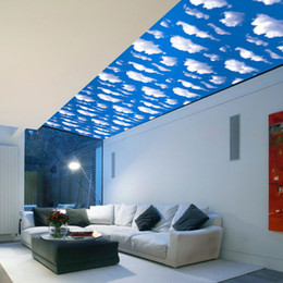 Wholesale Scenery Window Sticker - 3D Blue Sky White Cloud Scenery Window Art Design Removable Wall Sticker Living Room Home Decals Decor Wallpaper Free Shipping