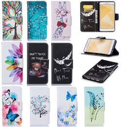 Wholesale Rice Butterflies - For Xiaomi Red Rice Note 4X Note4x Cases Covers Kickstand Tree Giraffe Feather Birds Butterfly Flowers Bear Evil Laugh with Flip Bckle