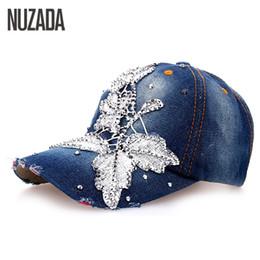 Wholesale Snapback Hat Glass - Wholesale- Brands NUZADA Denim Baseball Cap Women Girls Ladies Snapback Embroidery Glass Bone Rhinestones Hip Hop Hats Caps szm-033