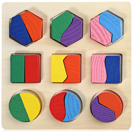 Wholesale geometry puzzle - Block Puzzle Candy Wood Baby Kids Wooden Learning Geometry Educational Toys Children Early Learning 3D Colorful Shapes Wood Jigsaw Puzzles